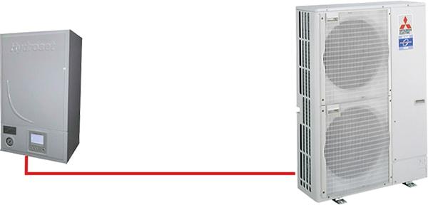 РаботаHydrosetв составе одиночной (моно) системы большой мощности.Блоки серии PUHZ.