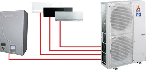 РаботаHydrosetв составе мультисистемы. Максимальная мощность 9 кВт. Блоки серии MXZ.